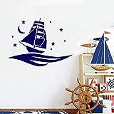 Tatuajes de pared Bebé Bedromm Barco Barco Patrón Vinilo Etiqueta de La Pared Mar Luna Arte Nocturno Extraíble Habitación de Dibujos Animados para Niños Decoración para el hogar blanco 112x85 cm