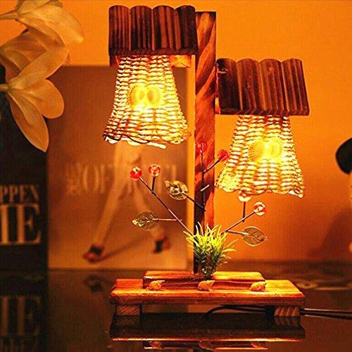 XIAOJIA Lampe de bureau Creative pastoral style artisanat bois lampe de table décoration maison lumières, ornements