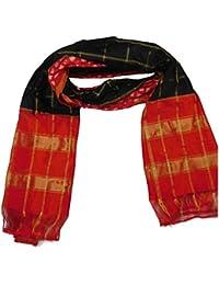 Venkatesh Ikat Silk Carfts Women's Silk Dupatta (Black And Red)