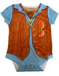 Dirty Fingers, 1970s Hairy Chest & Medallion, Baby Boy Bodysuit with reality style print