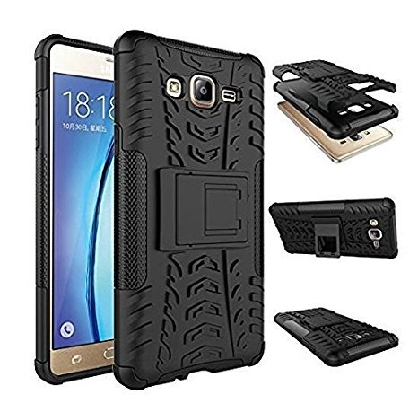 ARD ACCESSORIES Defender Case for SAMSUNG GALAXY J2-2016 NEW EDITION / J210 NEW / J2-16 NEW Dual Layer Tough Rugged Shockproof Hybrid Warrior Armor Case Back Cover With Kickstand / Black WITH 2.5 CURVE TEMPERED GLASS FREE