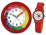 Atlanta Kinderwecker Mädchen + Armbanduhr Rot Lernuhr Set - 1265-1 KAU