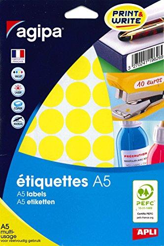 Agipa–Pegatinas con diseño de Circular (diámetro 24mm, redondo, amarillo