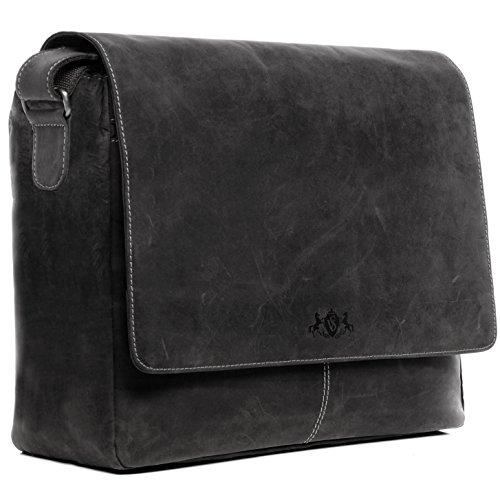 SID & VAIN® Laptop-Messenger bag SPENCER - Herren Umhängetasche XL groß Ledertasche fit 15 Zoll Laptop mit herausnehmbarer Schutzhülle- Laptoptasche Damen Herren echt Leder schwarz (Leder-15 Zoll Messenger Bag)