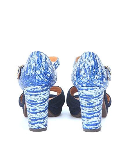 Sandale avec talon Chie Mihara Nana en cuir imprimé et daim bleu Bleu