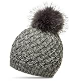 CASPAR MU177 Damen Winter Mütze Strickmütze Bommelmütze mit großem Fellbommel, Farbe:grau;Größe:One Size