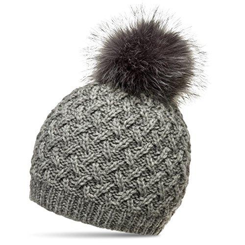 6dba9833837b63 CASPAR MU177 Damen Winter Mütze Strickmütze Bommelmütze mit großem  Fellbommel