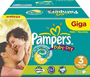 Pampers - 81263010 - Baby Dry Couches - Taille 3 Midi (4-9kg) Gigapack x180