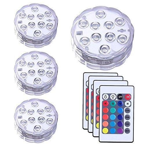 Pawaca sommergibile luce led, multi color luci led con telecomando 10 led rgb luci per l'acquario, la base di vaso, stagno, giardino, festa, natale