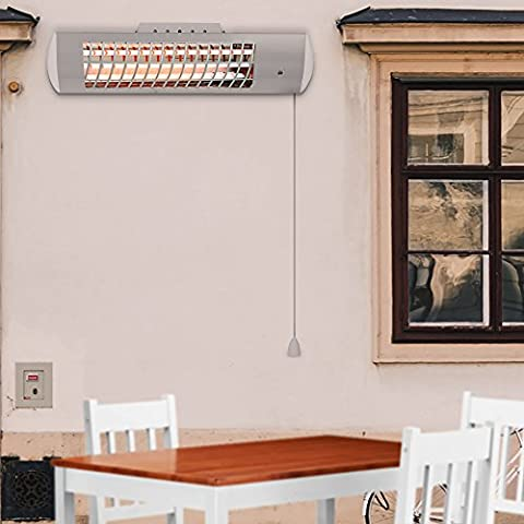 Panana QuarzHeizstrahler Haushaltsgeräte Infrarot Heizung: Heizstrahlersäule mit Oszillation spritzwassergeschützt, 3 Leistungsstufen, 600W / 1200W / 1800W - JR005