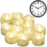 LED Kerzen mit Timerfunktion, 12er-Pack PChero Batteriebetriebene LED-Kerzen, 6 Stunden An und 18 Stunden Aus - [Weiß (Leicht Warm)]