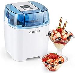 Klarstein Creamberry Machine à glace 4 en 1 (pour glaces, frozen yoghurts, milkshakes ou stockage de boissons fraiches, bac isotherme 1,5L, préparation en 20min) - blanc
