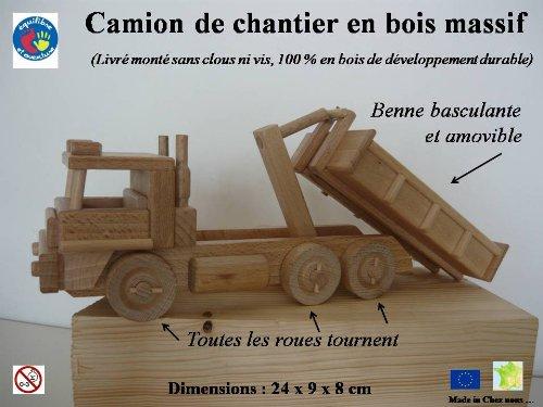 Camion de chantier, benne amovile, à 6 roues en bois, artisanat Français