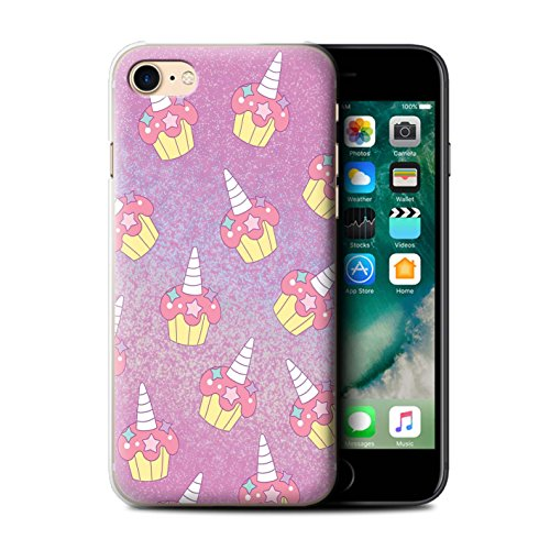 Stuff4® Hülle/Case für Apple iPhone 7 / Rosa Cupcake/Kuchen Muster/Einhorn/Unicorn Kollektion (Case Cupcake Iphone)