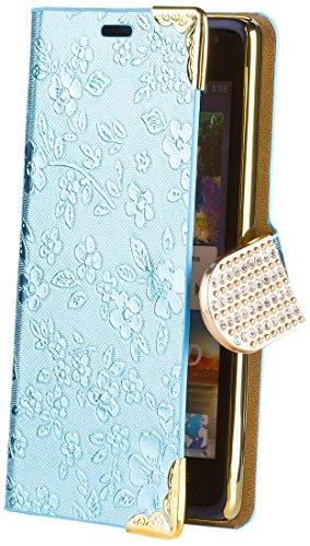 iCues Huawei Ascend Y530 Chrom Blume Buch - Türkis - Exklusives Design mit eingelassenen Strass Steinen + Displayschutz