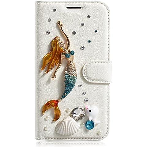 Samsung Galaxy S5 Sport Funda, Samsung G860P Funda, Lifeturt [ Sirena y Shell ] Cubierta de la caja de cuero superior de la carpeta del libro para Samsung Galaxy S5 Sport G860P