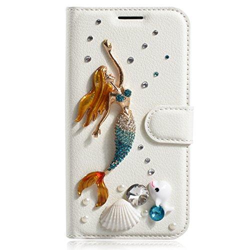 iPhone 6s Plus Coque, iPhone 6 Plus Coque, Lifeturt [ Fleur blanche ] Livre cuir de qualité supérieure Wallet Case Cover pour iPhone 6s Plus/6 Plus E02-22-sirène & shell