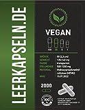 2000 Leerkapseln | Größe 00 | vegan HPMC | verbundene Kapselhälften – ganze leere Kapseln | transparente Kapseln | vegetarisch Halal & Kocher zertifiziert | (2000)
