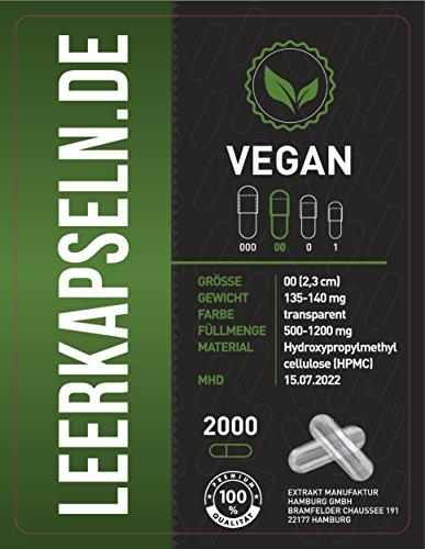2000 Leerkapseln | Gr 00 | vegan HPMC | verbundene Kapselhälften – ganze Kapseln | Füllmenge 500-1200mg | vegetarisch Halal & Kocher zertifiziert | aus Südamerika | MHD Jan. 2022 | transparente (2000)
