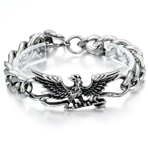 JewelryWe Gioielli bracciale da uomo donna acciaio inossidabile personalizzata Gotico retro aquila pendente
