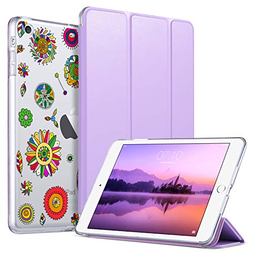 ULAK iPad Mini Hülle, Auto Aufwachen/Schlaf Funktion PU Ledertasche Smart Case Cover mit Durchschaubar Rückseite Abdeckung Schutzhülle für iPad Mini 3/2/1, Lila (Ipad 3 Cover Lila)