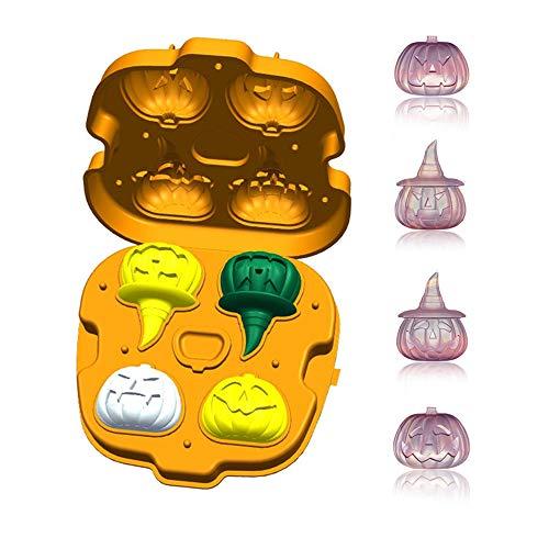 Eiswürfelschale mit Deckel in Kürbisform für Halloween Party, Silikon Ice Maker Große Würfel 4, 3D Eisförmchen Trinken Cool Whiskey Wein Cocktail, BPA-frei (Sie Eine Einfach Halloween Süßigkeiten-nehmen)