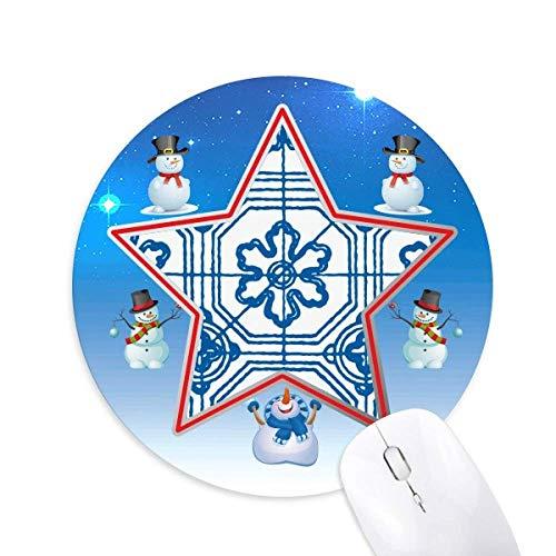 Talavera Blue Pattern Flower Ilustration Snowman Mouse Pad Round Star Mat