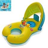 YONG-SHENG Doppio Anello di Nuoto per Bambini -Mother And Baby Swim Float Doppio Anello di Nuoto per Bambini con baldacchino Gonfiabile Rimovibile di Sicurezza, Fit 6-36 Mesi Baby Kids (Giallo)