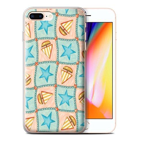 Stuff4 Gel TPU Hülle / Case für Apple iPhone 8 Plus / Pfirsich/Lila Muster / Boote und Sterne Kollektion Türkis/Orange