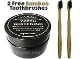 ORGANIC LABS Dientes naturales que blanquean el polvo de carbón + 2 cepillos de bambú - blanquea los dientes, mejora salud de la goma, refresca la respiración. Grado de comida. (2 Brushes)