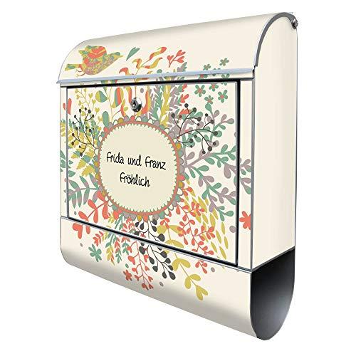 BANJADO Design Briefkasten mit Zeitungsfach, 2 Schlüssel, A4 Einwurf, silber pulverbeschichtet, mit Motiv WT Frühling