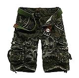 ZKOO Cargo Shorts Herren Jeans Bermuda Kurze Hose mit Multi-Tasche Sommerhose Sport Shorts Outdoor Cargo Shorts Freizeit Armee Grün