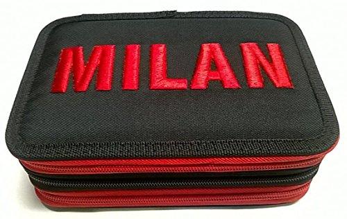A.c. milan - astuccio scuola 3 zip completo - 2018-19 licenza ufficiale panini