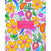 Drawing Pad: 8x10 Girly & Colorful Floral & Paisley Design Sketchbook, with 110 pages of Bordered Drawing Paper