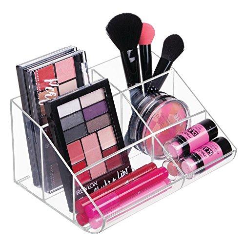 mDesign Kosmetik Organizer - Aufbewahrungsbox mit sechs Fächern für Make-up, Nagellack und Beautyprodukte - die ideale Schminkaufbewahrung - transparent