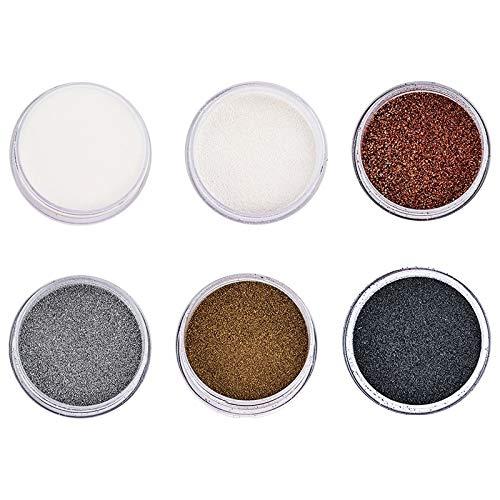 Ideen mit Herz Embossing-Pulver | Puder für Embossing | 6 Farben á 10ml | klar, weiß, kupfer, silber, gold, schwarz