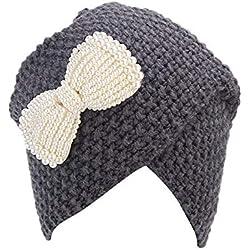 Covermason Bonnets et Chapeaux, Chapeau de Mode Womens Hiver Chaud Crochet Tricot Ski tressé Cap Coiffure Turban (Gris foncé)