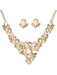 Yellow Chimes Gold Plated Pearl Necklace Set/Jewellery Set With Party Wear Earrings For Women And Girls