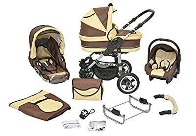 Kombi Kinderwagen X6 - 3 in 1 - Kombikinderwagen Buggy braun-beige