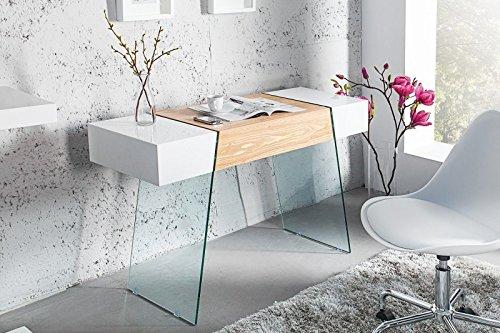 DuNord Design Schreibtisch Bürotisch Konsole AIRSTREAM hochglanz weiss Eiche Glas 120cm