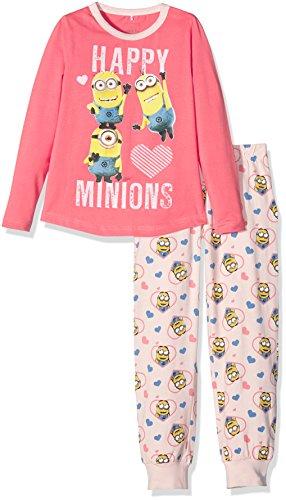 NAME IT Mädchen Zweiteiliger Schlafanzug Nitminions Kim Nightset G Nmt, Mehrfarbig (Flamingo Pink), 122