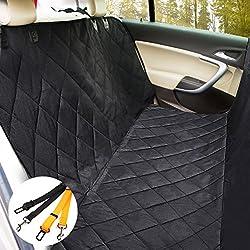 Morpilot Cubierta del asiento de coche universal para perro (137cm x 147cm) / Protector asiente de coche Ipermeable Anti-deslizante Ptector de mascotas con anclas + Coche de seguridad del cinturón de camiones SUV - Negro