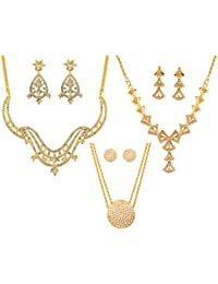 Touchstone Gold Tone Designer Collection Of Two Necklace Sets And A Pendant Set For Women