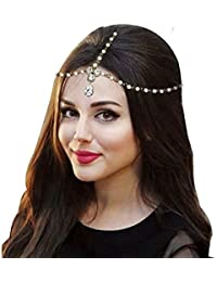 Style Gallery Stone And Pearl Gold Plated Mang Tikka Mathapatti Headgear Hair Jewellery For Women And Girls