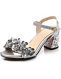 Sandalias del Dedo del Pie De Las Mujeres Hebilla Diamantes De Imitación De Encaje Bombas De Cuero Moda Joker Vestido Zapatos De Fiesta