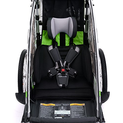 Qeridoo Sportrex 1 Deluxe (inkl. Sitzpolster) Kinder-Fahrradanhänger für 1 Kind (mit einstellbarer Federung) – grün - 4