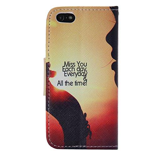 PU für Apple iPhone 5 5S SE Hülle,Geprägte Handyhülle / Tasche / Cover / Case für das Apple iPhone 5 5S SE PU Leder Flip Cover Leder Hülle Kunstleder Folio Schutzhülle Wallet Tasche Etui Standfunktion 2