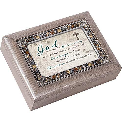 God Grant Serenity Courage Wisdom Spieluhr, gebürstetes Zinn, mit Schmucksteinen, Grau (Musik-schmuck-box Für Mama)