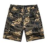 MNRIUOCII Herren Strandhose Camouflage Herren Block Casual Shorts Schnelltrocknend Bermuda Strandhose Atmungsaktiv Beachshorts Strand Surf Board Shorts Mode Strandhosen (Gelb, L)