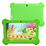 YUNTAB 7 inch Quad Core Tablet PC (512MB RAM, 8GB HDD, HD display 1024*600, Google Android 4.4, WIFI, USB, ) Allwinner A33 CPU with Dual Camera Google Play Pre-loaded, External 3G,3D-Game Kids Tablet with Comfortable touch and Chic Design Silicone Case (Green+Green)